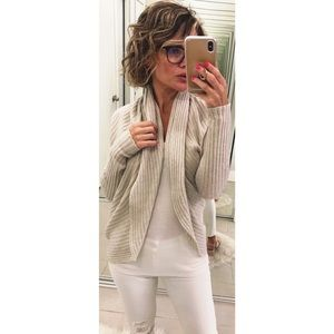 Autumn Cashmere Circle Ribbed Knit Open Cardigan